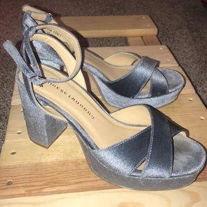 """Blue Velvet Embroidered 3"""" Heels"""